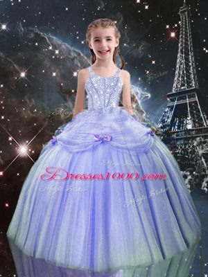 Beading Little Girls Pageant Dress Wholesale Lilac Lace Up Sleeveless Floor Length