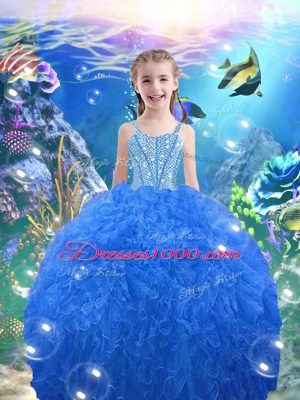 Elegant Baby Blue Straps Lace Up Beading and Ruffles Pageant Gowns For Girls Sleeveless