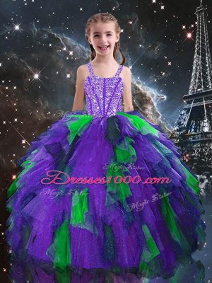 Stunning Straps Sleeveless Tulle Child Pageant Dress Beading and Ruffles Lace Up