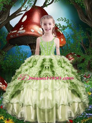 Organza Straps Short Sleeves Lace Up Beading and Ruffles and Ruffled Layers Little Girl Pageant Dress in Yellow Green