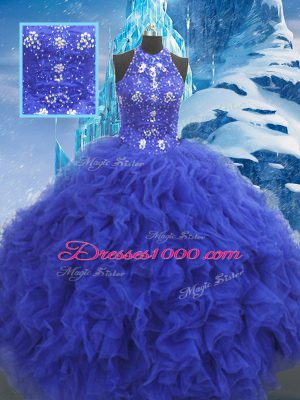 Ball Gowns Quinceanera Dresses Blue Scoop Organza Sleeveless Floor Length Lace Up