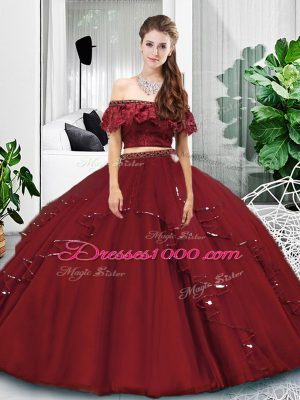 Perfect Burgundy Lace Up Off The Shoulder Lace and Ruffles Sweet 16 Dresses Tulle Sleeveless