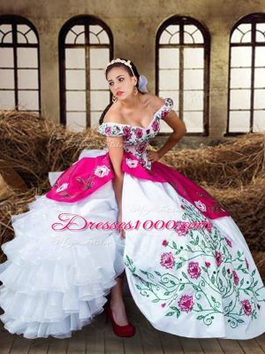 Off The Shoulder Sleeveless Lace Up Quinceanera Dresses Multi-color Chiffon