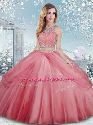 Charming Scoop Sleeveless Sweet 16 Dress Floor Length Beading Watermelon Red Tulle