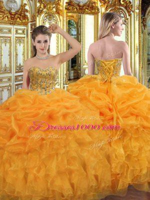 Spectacular Beading and Ruffles Sweet 16 Quinceanera Dress Orange Lace Up Sleeveless Floor Length
