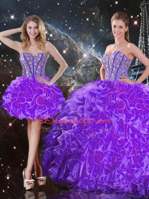 Sophisticated Eggplant Purple Sweetheart Lace Up Beading and Ruffles Quinceanera Gown Sleeveless