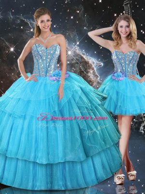 Aqua Blue Ball Gowns Ruffled Layers and Sequins Quinceanera Gown Lace Up Organza Sleeveless Floor Length