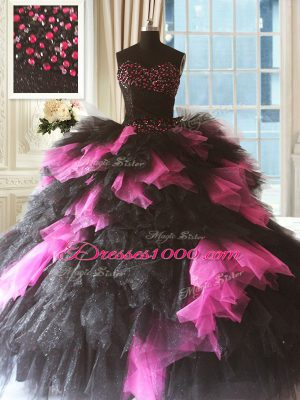 Admirable Sweetheart Sleeveless Tulle Sweet 16 Dresses Beading and Ruffles Lace Up