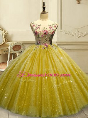 Gold Lace Up Scoop Appliques and Sequins Quince Ball Gowns Tulle Sleeveless