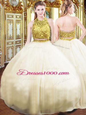 Sleeveless Beading Zipper 15 Quinceanera Dress