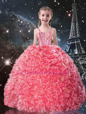 Ball Gowns Little Girls Pageant Dress Wholesale Coral Red Straps Organza Sleeveless Floor Length Lace Up