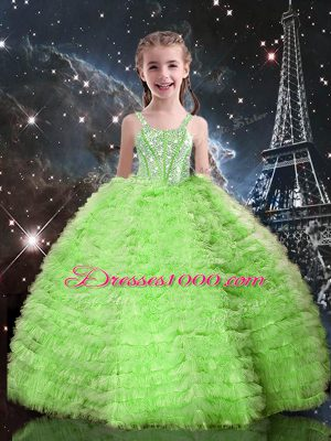 Affordable Straps Sleeveless Tulle Little Girl Pageant Dress Beading and Ruffled Layers Lace Up