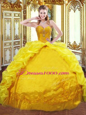 Deluxe Gold Sweetheart Neckline Beading and Embroidery and Pick Ups Ball Gown Prom Dress Sleeveless Lace Up