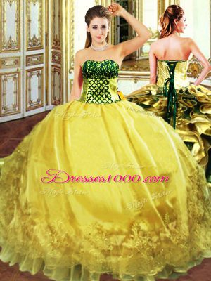 Dynamic Gold Sleeveless Organza Lace Up Quince Ball Gowns for Military Ball and Sweet 16 and Quinceanera