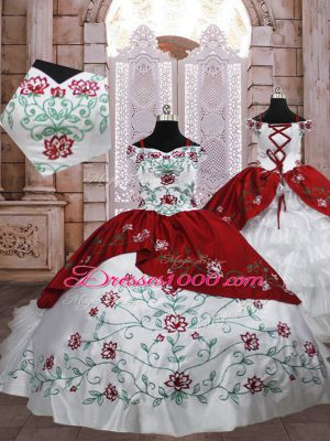Dramatic White And Red Lace Up Little Girls Pageant Dress Embroidery and Ruffled Layers Sleeveless Floor Length