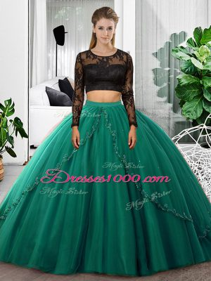 Popular Floor Length Dark Green 15 Quinceanera Dress Tulle Long Sleeves Lace and Ruching
