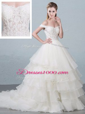Elegant White Ball Gowns Organza Off The Shoulder Sleeveless Lace and Ruffled Layers Lace Up Bridal Gown Brush Train