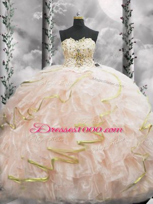 Beautiful Peach Lace Up Sweetheart Beading and Ruffles Vestidos de Quinceanera Organza Sleeveless Brush Train