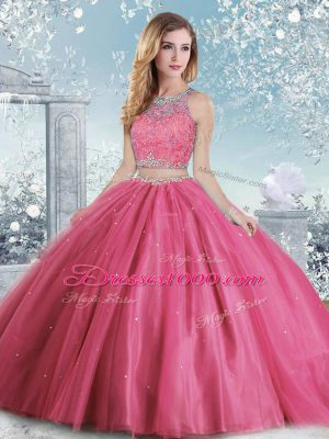 Deluxe Tulle Sleeveless Floor Length 15 Quinceanera Dress and Beading and Sequins