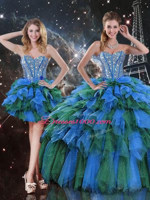 Flirting Multi-color Quinceanera Gowns Military Ball and Sweet 16 and Quinceanera with Beading and Ruffles and Ruffled Layers Sweetheart Sleeveless Lace Up
