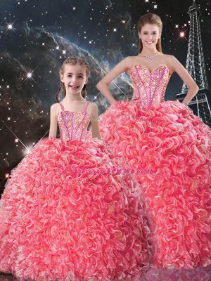 Traditional Coral Red Sweet 16 Quinceanera Dress Military Ball and Sweet 16 and Quinceanera with Beading and Ruffles Sweetheart Sleeveless Lace Up