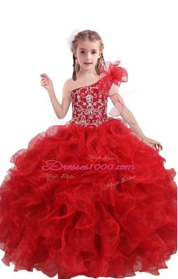 Popular Floor Length Lace Up Pageant Gowns For Girls Red for Quinceanera and Wedding Party with Beading and Ruffles