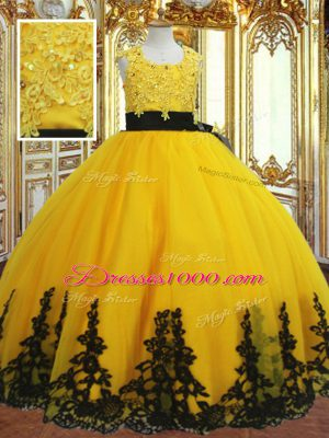 Gold Zipper Little Girl Pageant Gowns Lace and Appliques Sleeveless Floor Length