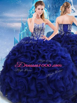 Popular Royal Blue Sweetheart Lace Up Beading Quinceanera Dress Sleeveless