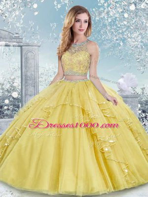Gold Tulle Clasp Handle Scoop Sleeveless Floor Length Quinceanera Gown Beading and Lace