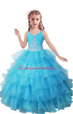 Affordable Floor Length Baby Blue Little Girls Pageant Dress Organza Sleeveless Beading and Ruffled Layers