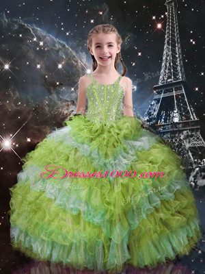 Fantastic Sleeveless Beading and Ruffled Layers Lace Up Little Girls Pageant Gowns