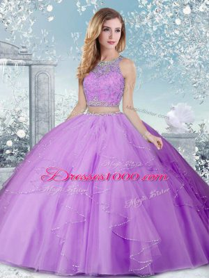 Suitable Lavender Scoop Neckline Beading Quinceanera Dress Sleeveless Clasp Handle