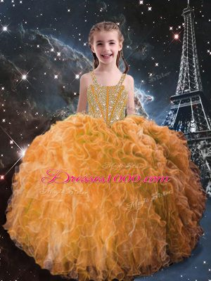 Fancy Orange Red Sleeveless Beading and Ruffles Floor Length Little Girl Pageant Gowns