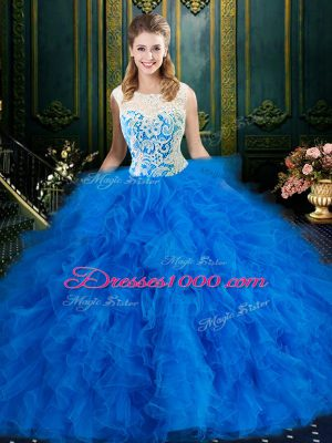 Latest Blue Scoop Neckline Lace and Ruffles Sweet 16 Quinceanera Dress Sleeveless Zipper