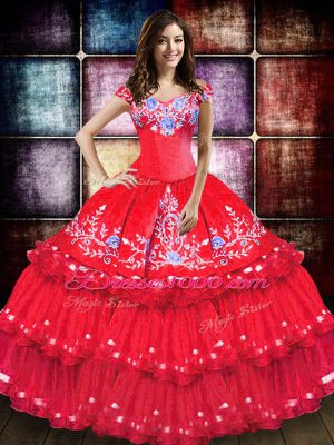 Sweet Coral Red Taffeta Lace Up Off The Shoulder Sleeveless Floor Length Sweet 16 Dress Embroidery and Ruffled Layers
