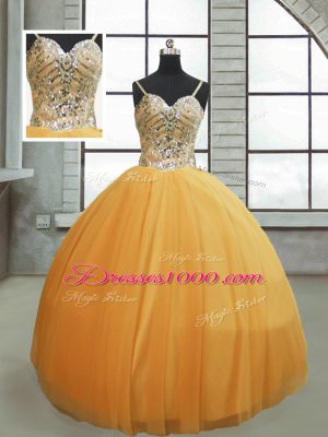 Custom Made Beading 15th Birthday Dress Gold Lace Up Sleeveless Floor Length