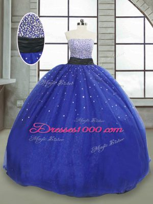 Hot Sale Royal Blue Tulle Lace Up Strapless Sleeveless Floor Length Quinceanera Dresses Beading and Sequins