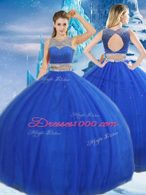 Admirable Royal Blue Ball Gowns Tulle Scoop Sleeveless Beading and Sequins Asymmetrical Clasp Handle 15th Birthday Dress