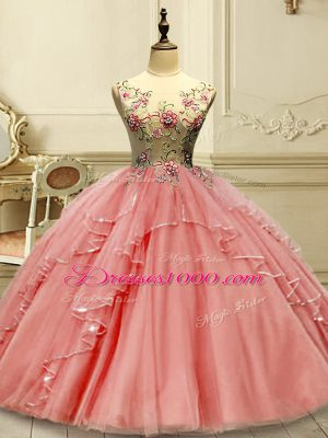 Delicate Ball Gowns Quinceanera Gown Watermelon Red Scoop Tulle Sleeveless Floor Length Lace Up