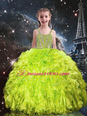 Yellow Green Organza Lace Up Little Girl Pageant Gowns Sleeveless Floor Length Beading and Ruffles