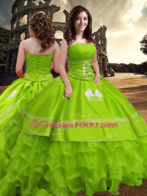 15 Quinceanera Dress Military Ball and Sweet 16 and Quinceanera with Embroidery and Ruffled Layers Strapless Sleeveless Zipper