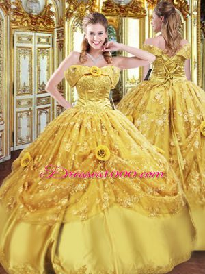 Excellent Sleeveless Lace Up Floor Length Beading and Appliques and Hand Made Flower Quinceanera Dress