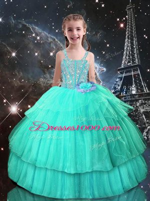 Wonderful Turquoise Straps Neckline Beading Kids Pageant Dress Sleeveless Lace Up