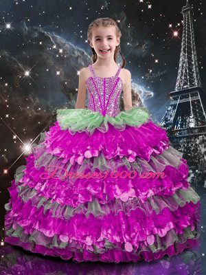 Floor Length Lace Up Little Girls Pageant Gowns Multi-color for Quinceanera and Wedding Party with Beading and Ruffled Layers