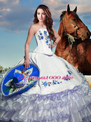Designer Strapless Long Sleeves Taffeta Quinceanera Gowns Embroidery and Ruffled Layers Lace Up