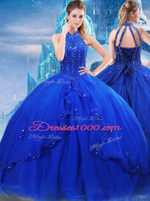 Lovely Royal Blue High-neck Neckline Beading and Ruffles Quinceanera Dresses Sleeveless Lace Up