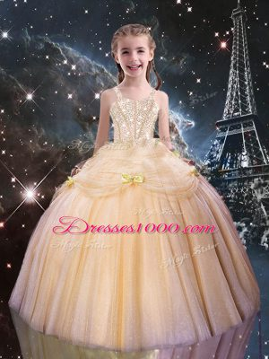 Ball Gowns Child Pageant Dress Peach Straps Tulle Sleeveless Floor Length Lace Up