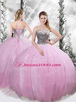Beading Quinceanera Dress Lilac Lace Up Sleeveless Brush Train
