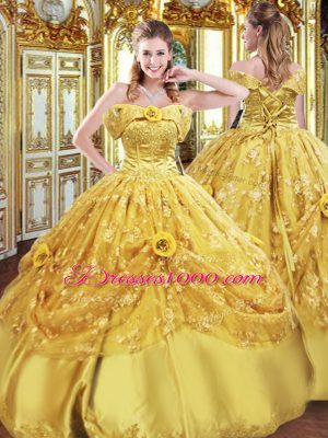 Perfect Gold Lace Up Quinceanera Gowns Beading and Appliques and Hand Made Flower Sleeveless Floor Length