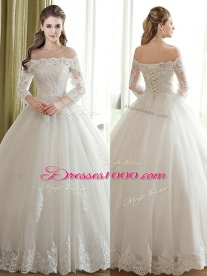 White Lace Up Off The Shoulder Lace and Appliques Wedding Dress Tulle 3 4 Length Sleeve